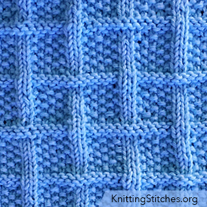 KnittingStitches.org - Lattice With Seed Stitch. Ribbed columns criss-cross around seed stitch squares. @knitpurlstitches
