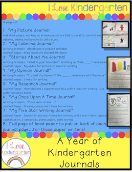 A Year Of Kindergarten Journals