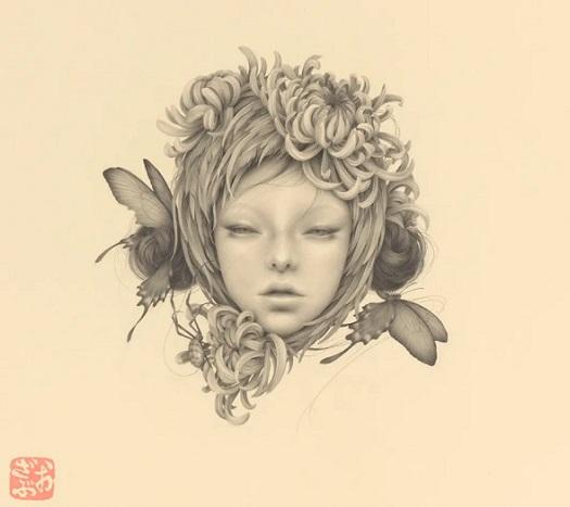 by Ozabu, 浅い夢 (Asai Yume), 2019 | imagenes dibujos de mujeres con mariposas en la cabeza a lapiz | woman sad art