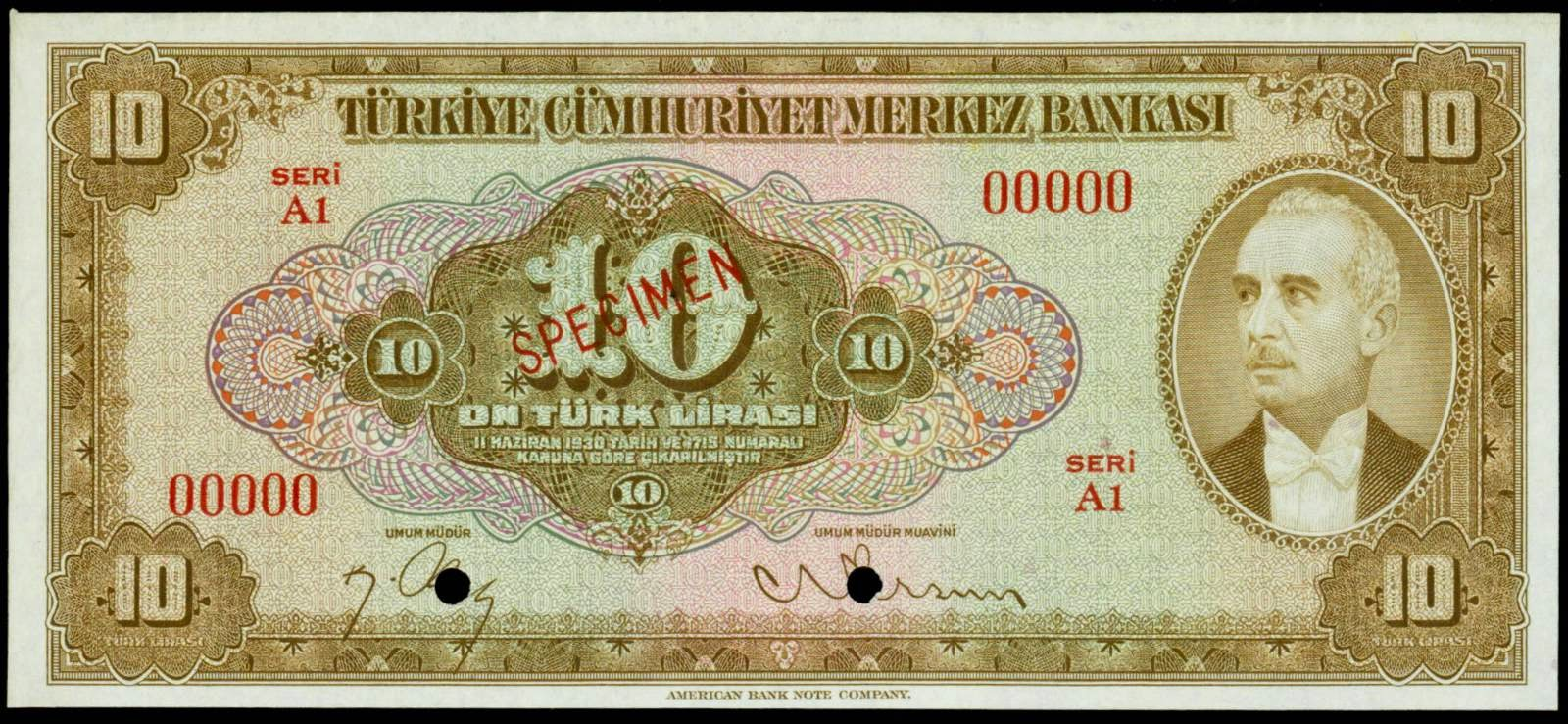 Banknotes of Turkey 10 Turkish Lira banknote 1946 İsmet İnönü