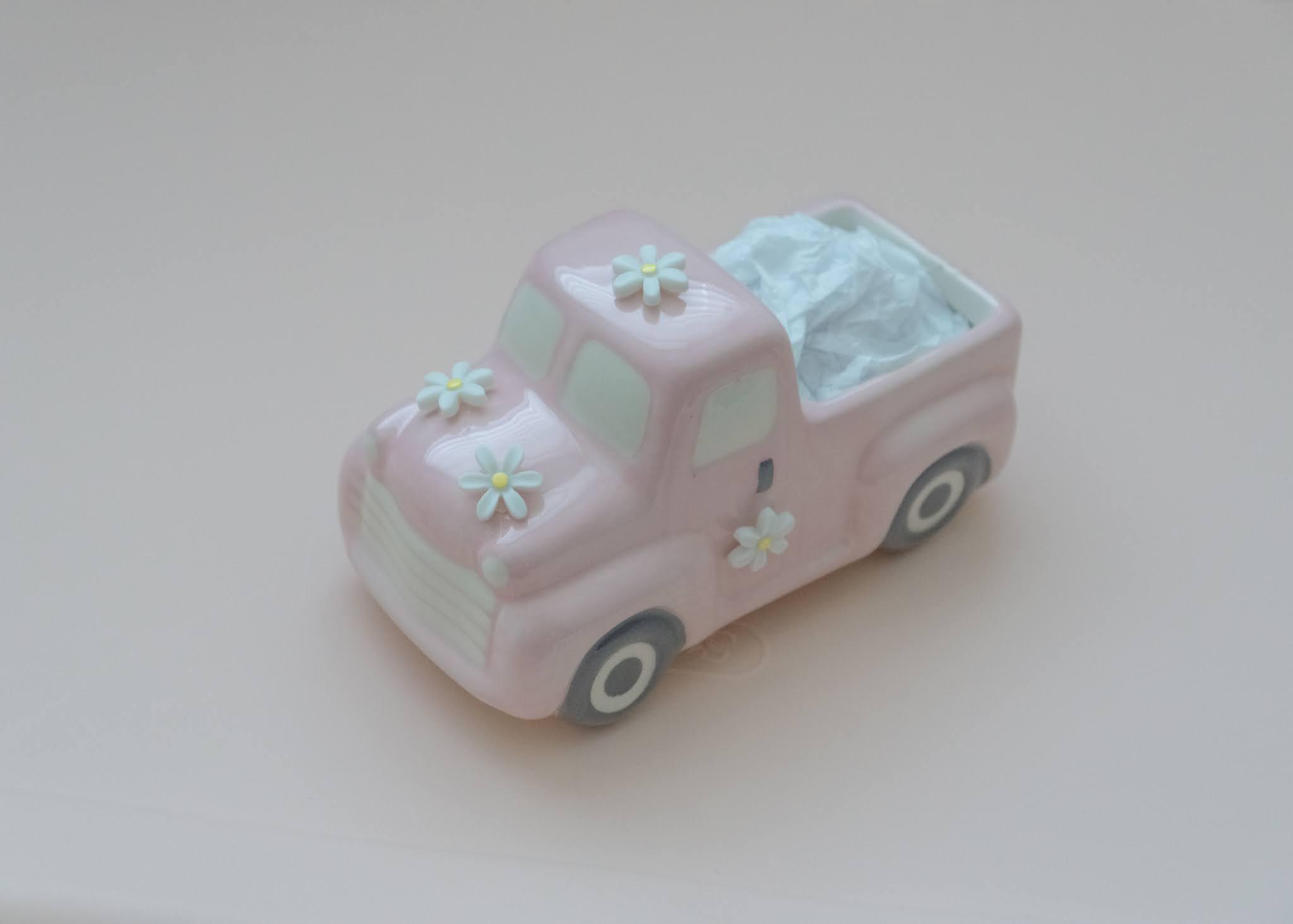Spring Crafting, pink ceramic flower truck diy