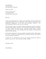 Waiter Application Letter Sample