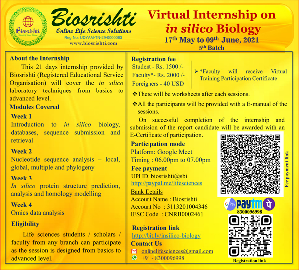 Biosrishti - Virtual Internship on in Silico Biology | 17th May to 9th June 2021 (5th BATCH)