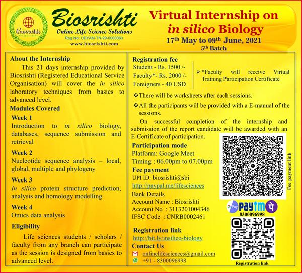 Biosrishti - Virtual Internship on in Silico Biology | 17th May to 9th June 2021 (5th BATCH)