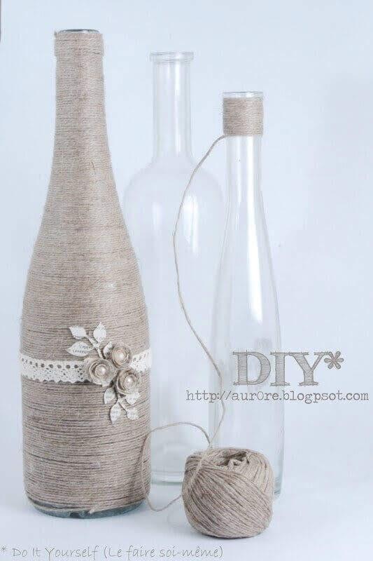 Membuat Vas Benang dengan Botol Bekas