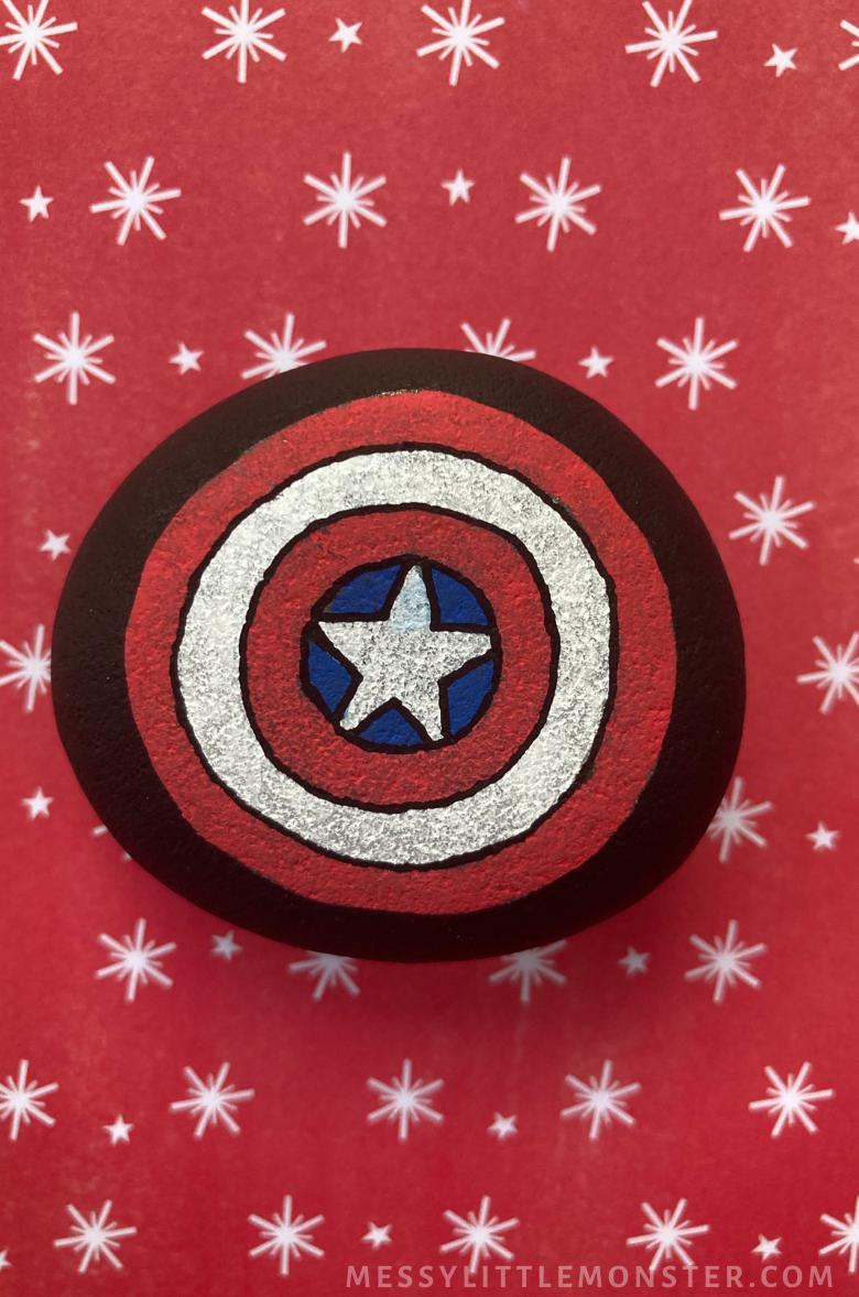 Captain America Craft - Superhero rock painting