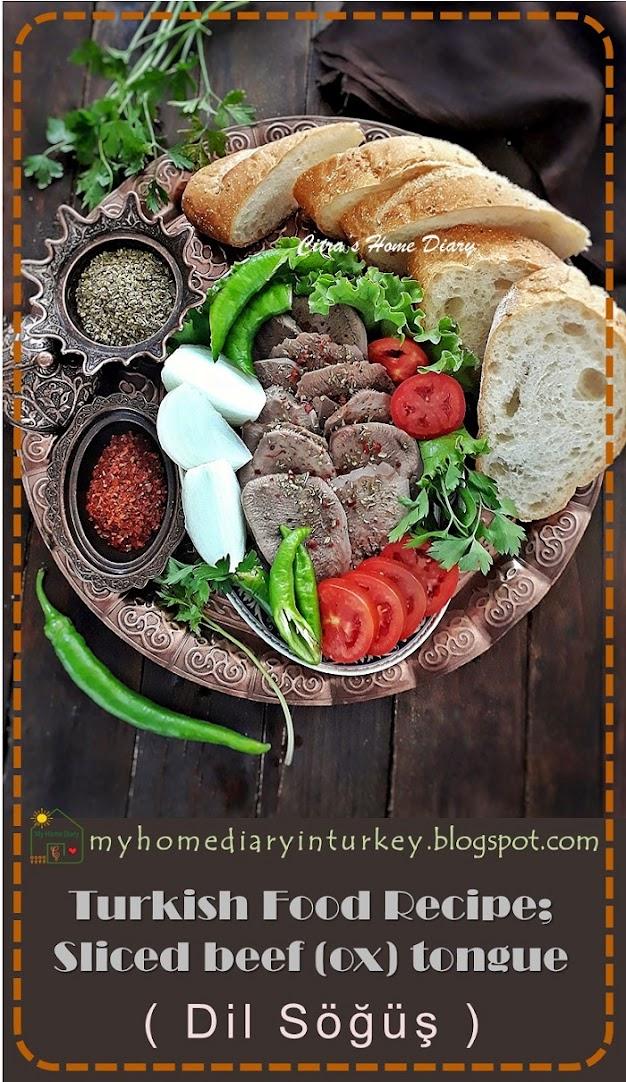 Turkish Food Recipe ; Dil Söğüş / Boiled  Sliced beef (ox) tongue   Çitra's Home diary. #cookingwithoffal #beeftonguerecipe #turkishfoodrecipe#dilsöğüş #söğüş #easyrecipe #resepmasakanturki #howtocooktongue