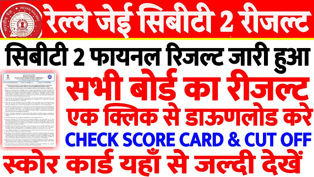 RRB JE CBT 2 RESULT DECLARED CHECK SCORE CARD AND CUT OFF ZONEWISE