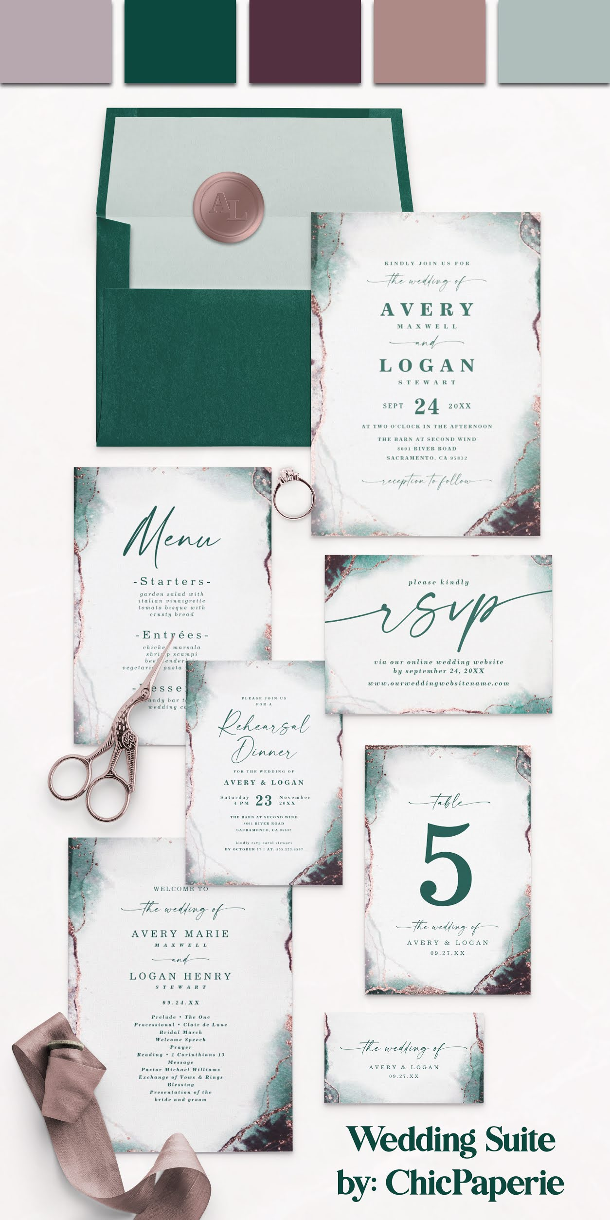 Emerald Green Abstract Ethereal Watercolor Wedding Invitation Suite: Showing Emerald Green Envelopes, Rose Gold Wax Seal Stickers, Wedding Invites, Menus, RSVP Cards, Rehearsal Dinner Invitations, Table Numbers, Wedding Programs, and Gift Registry Inserts