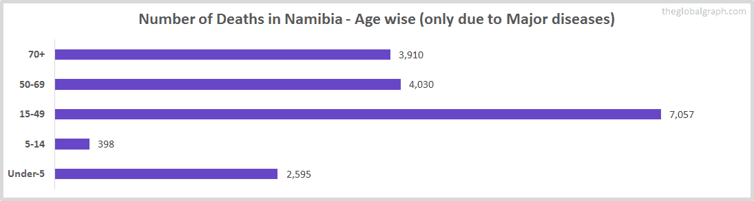 Number of Deaths in Namibia - Age wise (only due to Major diseases)