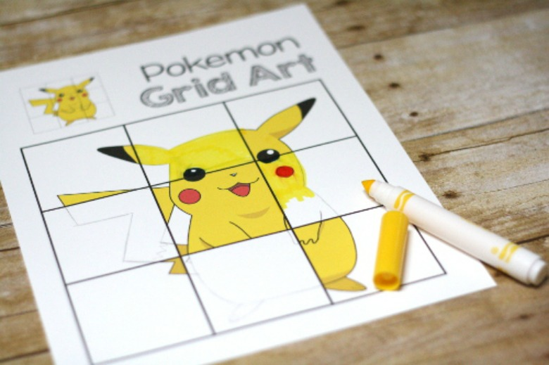 Pokemon drawing grids - Pokemon crafts for kids