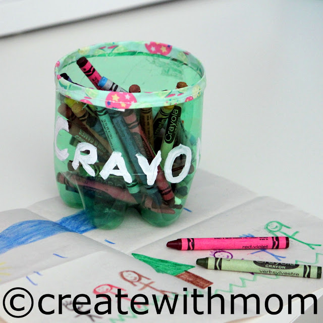 Recycled bottles to keep crayon