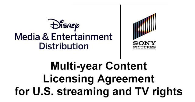 迪士尼 與 索尼 達成美國市場串流媒體平台電影授權協議, DISNEY AND SONY PICTURES ENTERTAINMENT ANNOUNCE UNPRECEDENTED POST-PAY 1 CONTENT LICENSING AGREEMENT