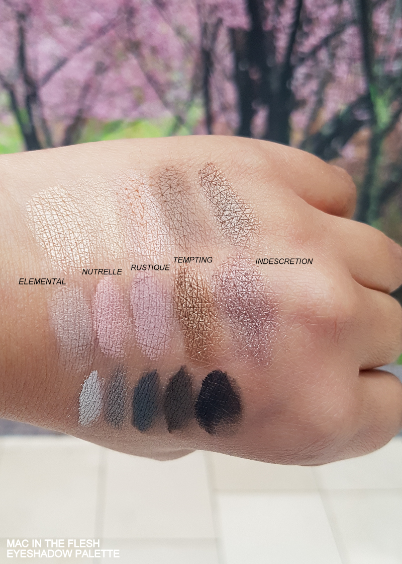 MAC In the Flesh Eyeshadow x 15 Palette - Swatches Elemental - Nutrelle - Rustique - Tempting - Indescretion