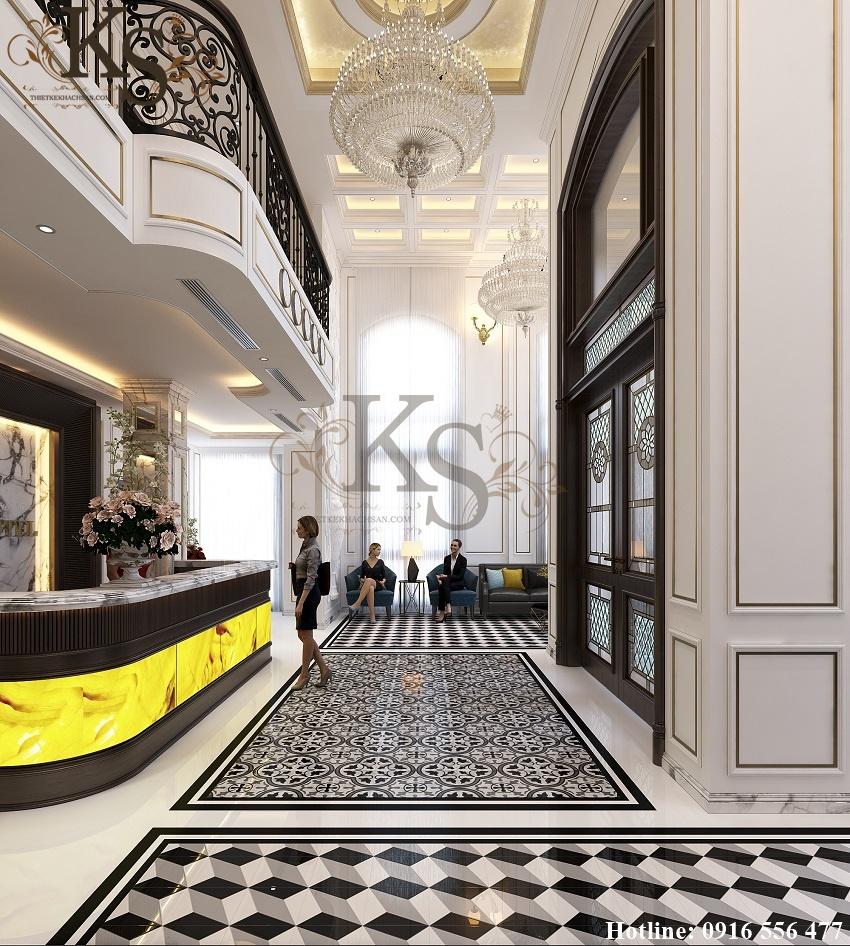Hình ảnh: Khu vực tiếp khách được thiết kế theo lối thông tầng, hệ thống chi tiết trang trí đều được xây dựng theo phong cách Pháp lịch lãm.