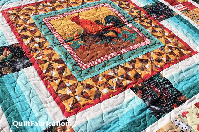 Round Robin Rooster quilting closeup