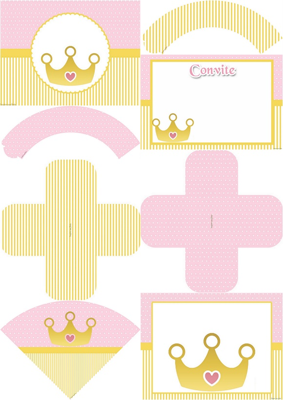 Golden Crown in Pink: Free Printable Invitations, Boxes and Free Party Printables.