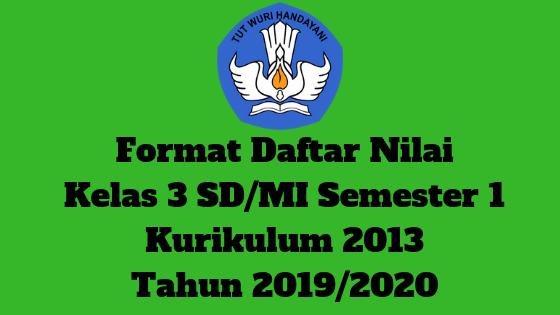 Format Daftar Nilai Kelas 3 SD/MI Semester 1 Kurikulum 2013 Tahun 2019/2020 - Guru Krebet 3