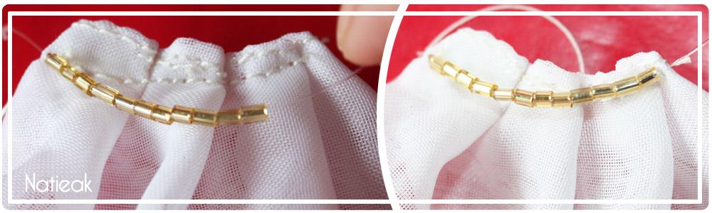 ajouter des perles sur une robe de barbie