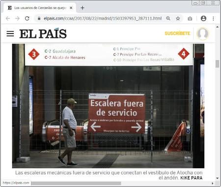 Fotografía de escaleras mecánicas fuera de servicio publicada en una noticia de EL PAÍS.