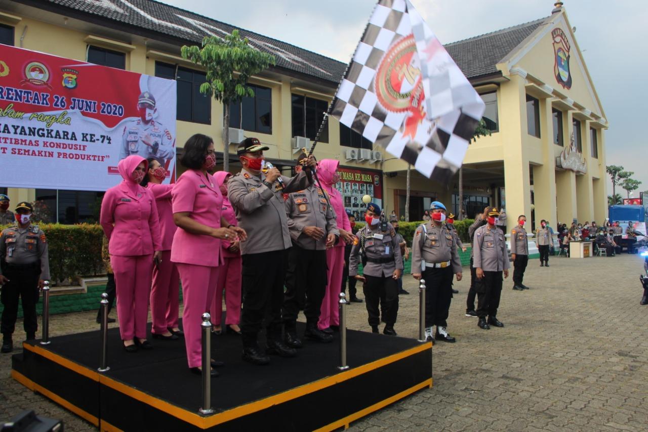 Menyambut Hari Bhayangkara ke-74 Polda Lampung mengadakan Bakti Sosial serentak