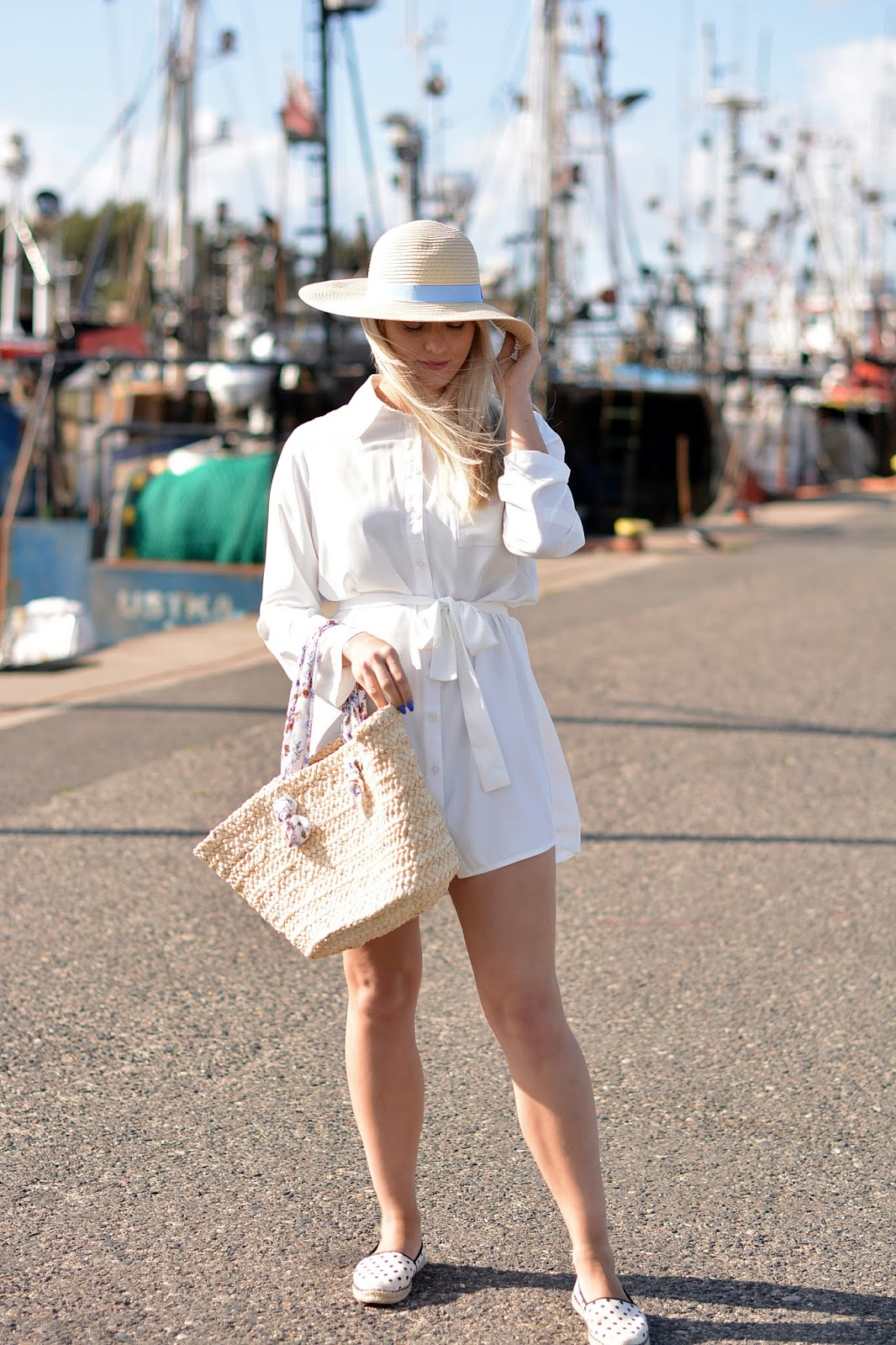 White Rolled Shirt Dress