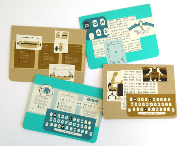 handmade cards from old typewriter manual