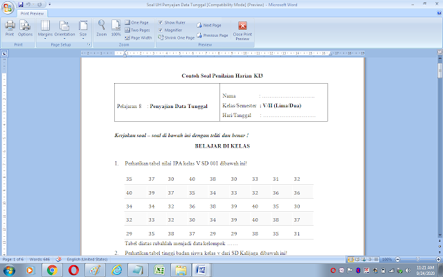 Soal ulangan harian matematika kelas 5 sd/mi: Penyajian data tunggal