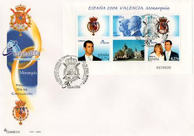sobre, sellos, hoja bloque, matasellos, Valencia, monarquía
