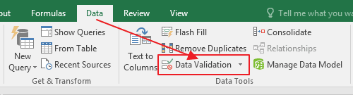 Data Validation Excel Menu