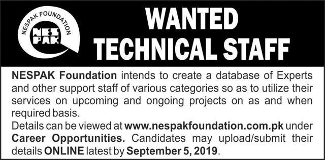 NESPAK Foundation Wanted Technical Staff