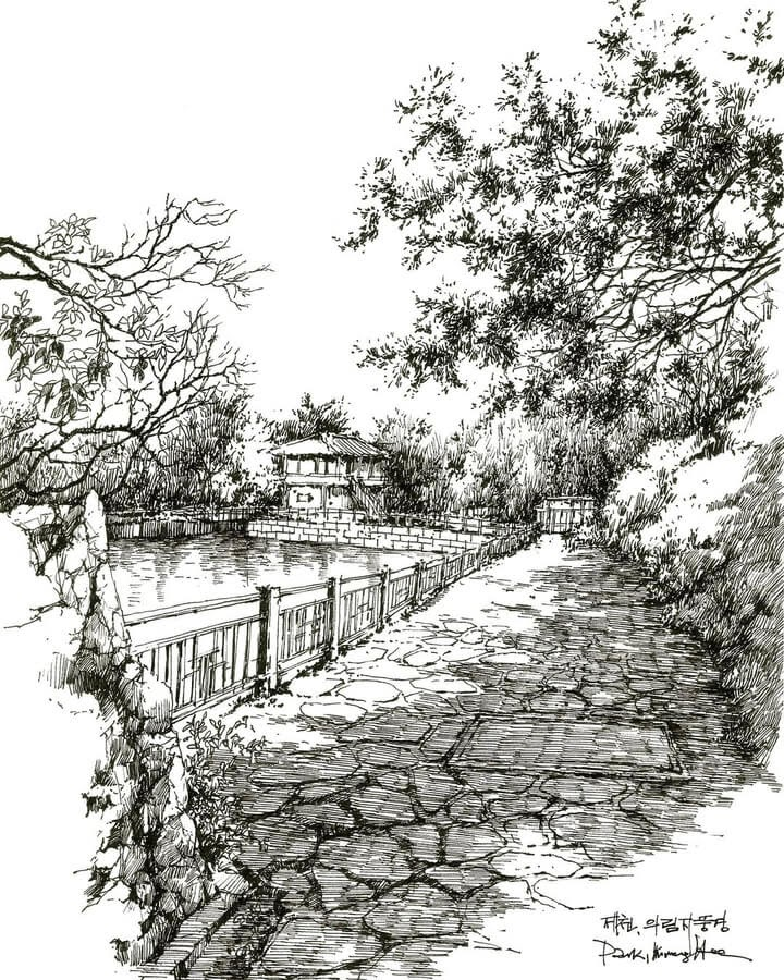 08-Stone-path-and-the-pond-sketch_forum-www-designstack-co