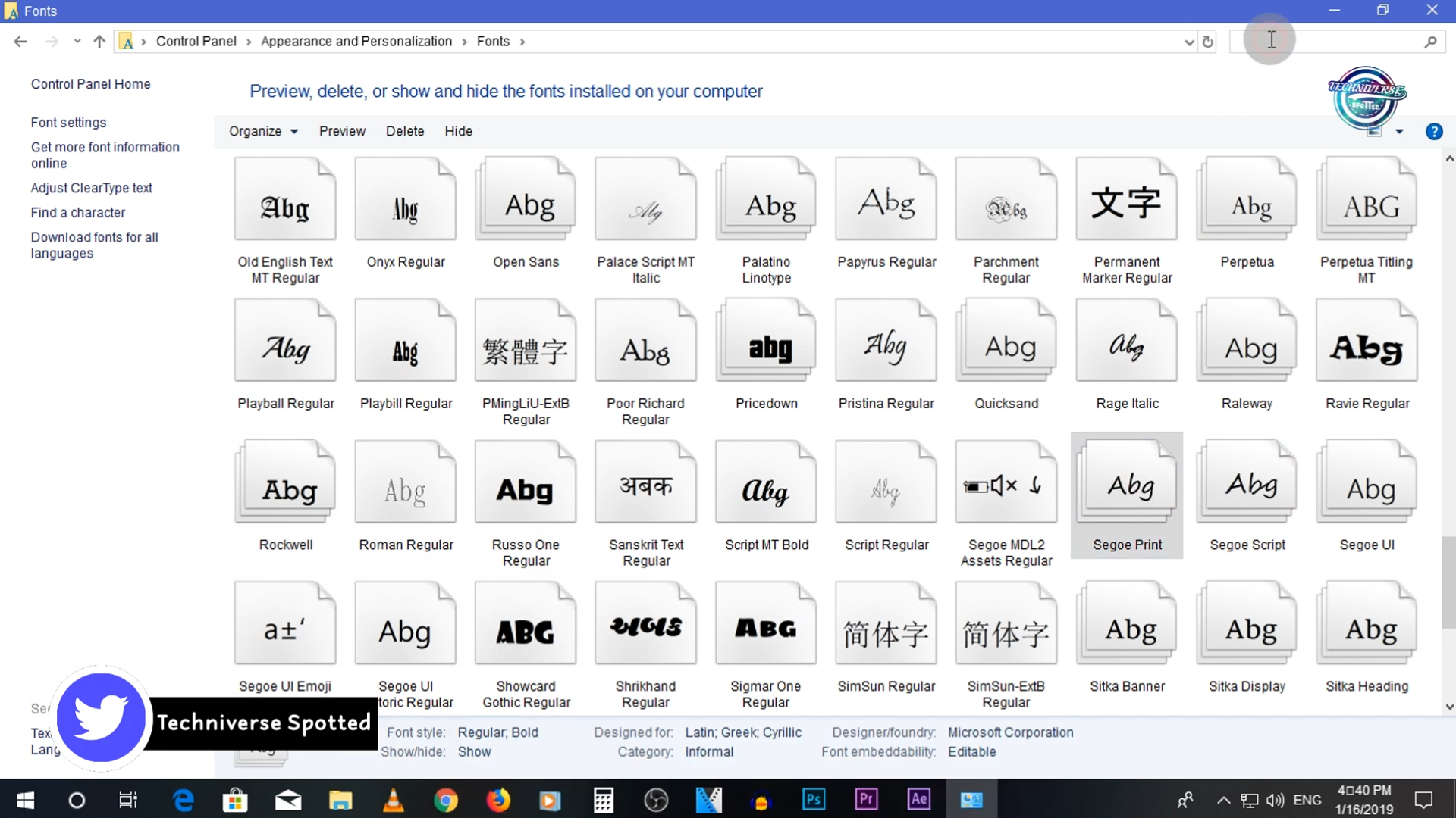 How to change default font in Windows.