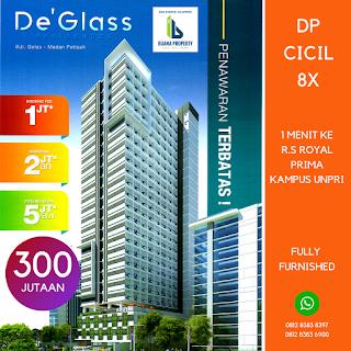 Apartemen Murah De'Glass Residence Hanya 300 Jutaan Di Medan, 1 Menit Ke Kampus UNPRI, Potensi Pasif Income Besar