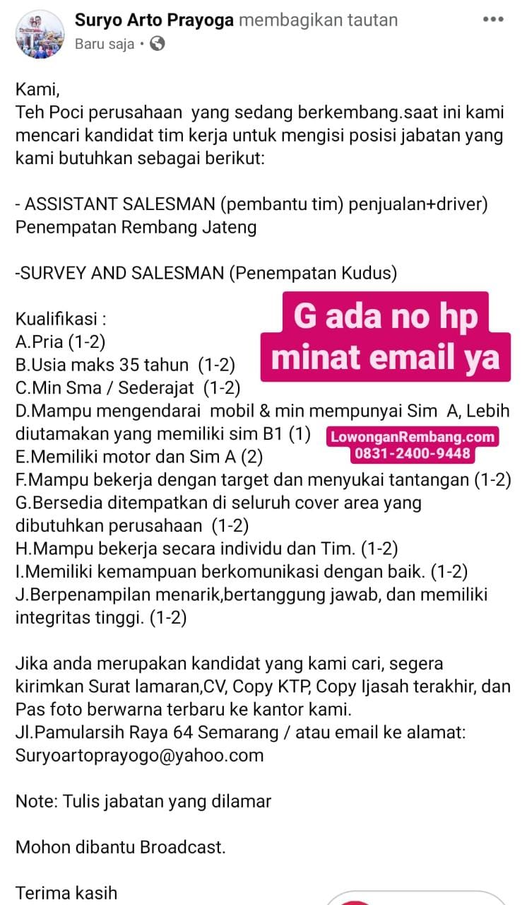 Lowongan Kerja Assistant Salesman Teh Cap Poci Penempatan Rembang