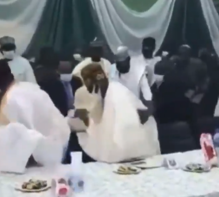 Watch the moment as Bola Tinubu, almost fell after missing his step at a function in Kaduna(Video)