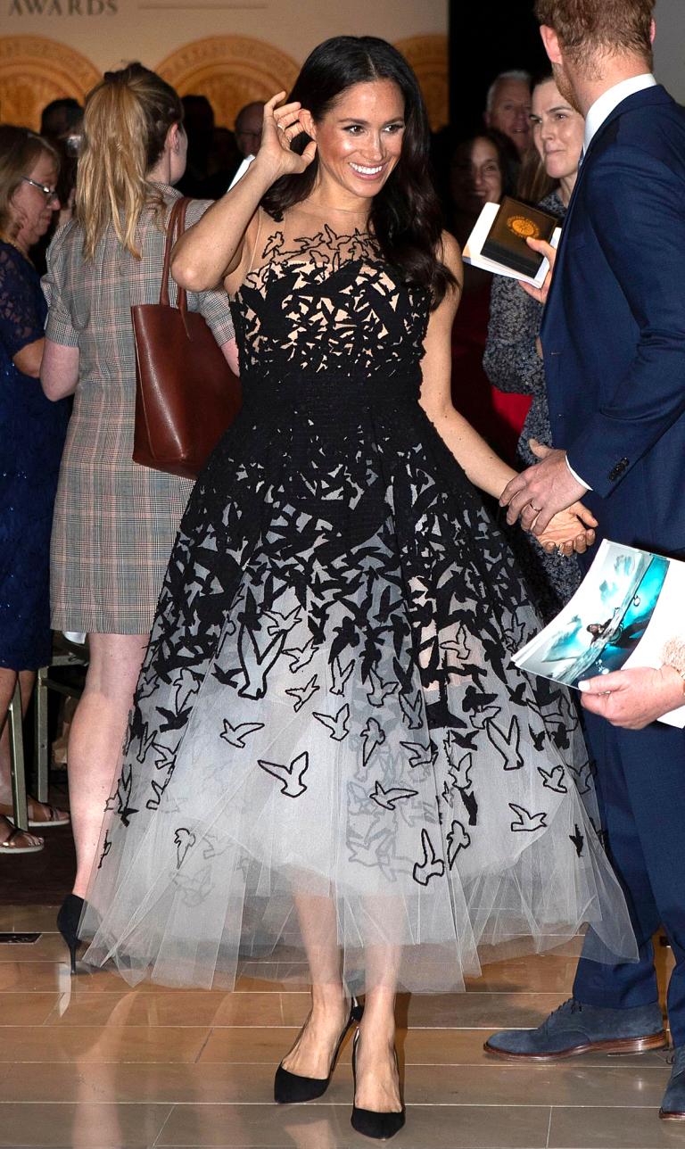 Meghan Markle Wears Embellished Oscar de la Renta Gown