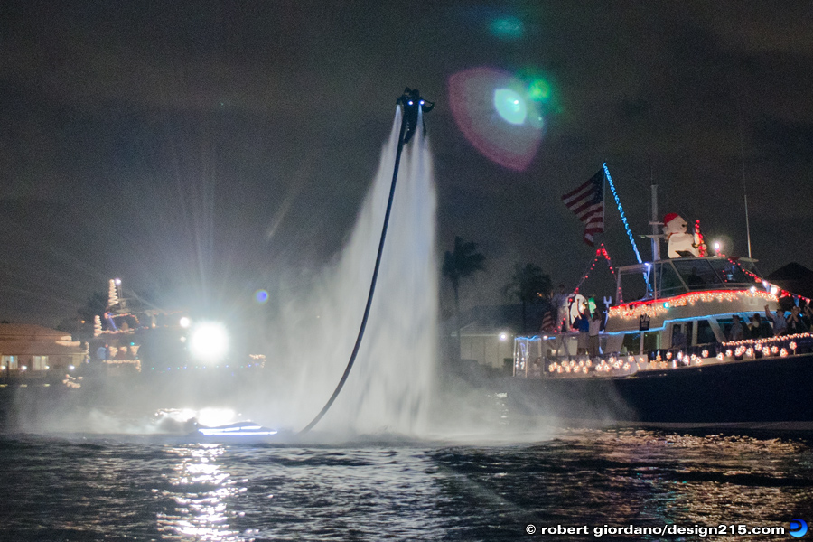 Photo of a person using a JetLev during the Fort Lauderdale Boat Parade, Copyright 2011 Robert Giordano