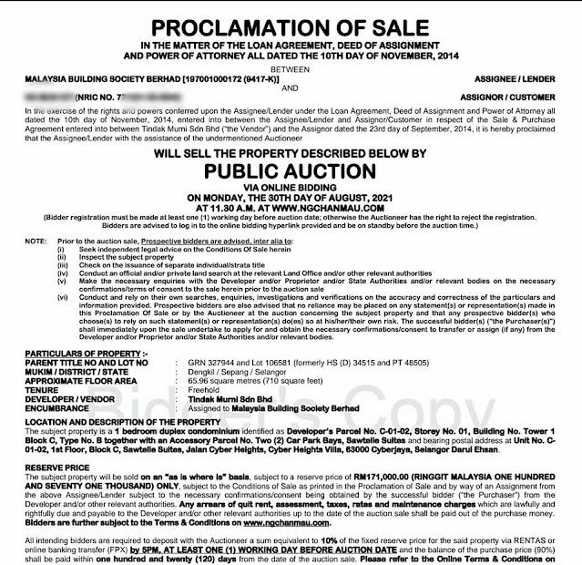 proclamation of sale Rumah Lelong Unit duplex di Cyberjaya