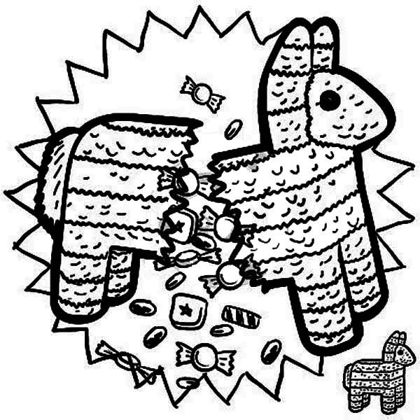 Dibujos de Piñata Estaba Roto para Colorear, Pintar e Imprimir ...