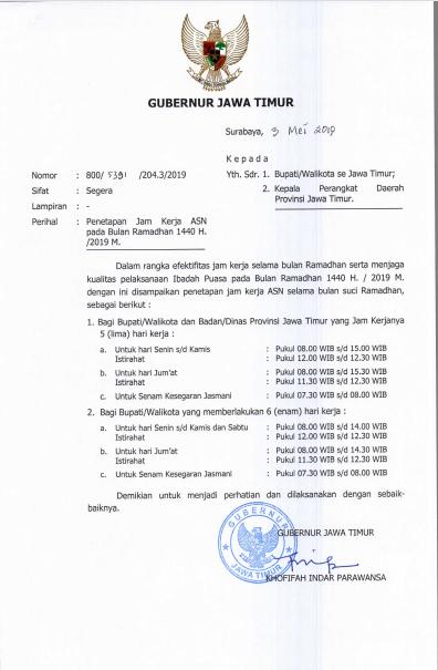 Penetapan Jam Kerja ASN Jawa Timur pada Bulan Ramadhan 1440 H/2019 M