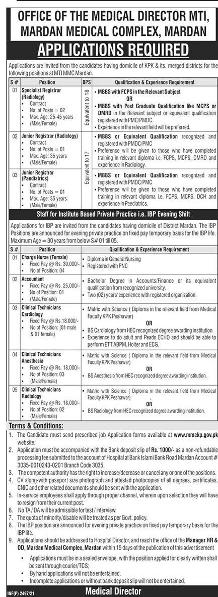 Medical Teaching Institution (MTI) Mardan Medical Complex Jobs 2021 in Pakistan