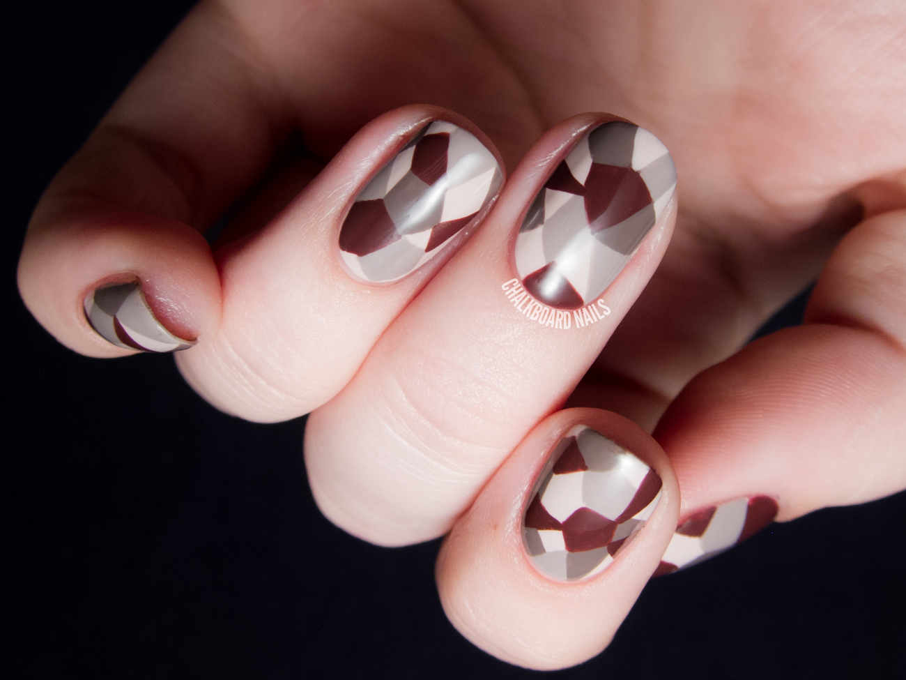 Faceted Neutrals Nail Art by @chalkboardnails