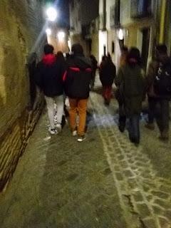 Grupo de jóvenes durante la ruta