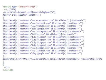 طريقة انشاء صفحة إعادة توجيه الروابط الخارجية في مدونة بلوجر كود hTML