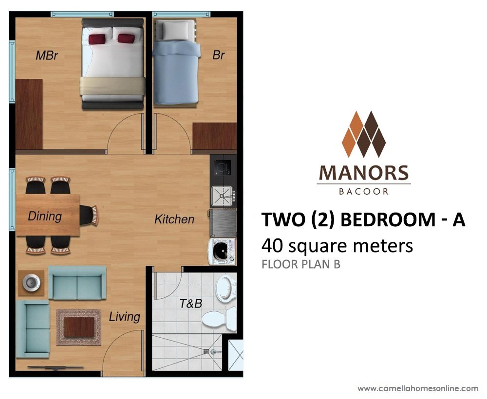 Floor Plan of Two (2) Bedroom 40 Sqm - Camella Condo Homes Bacoor | Condo for Sale Bacoor Cavite