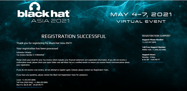 Black Hat Open Register, Registration Event Asia 2021