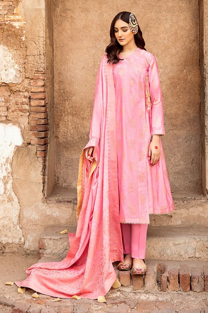 Gul Ahmed Pink Suit embroidered Jacquard collection