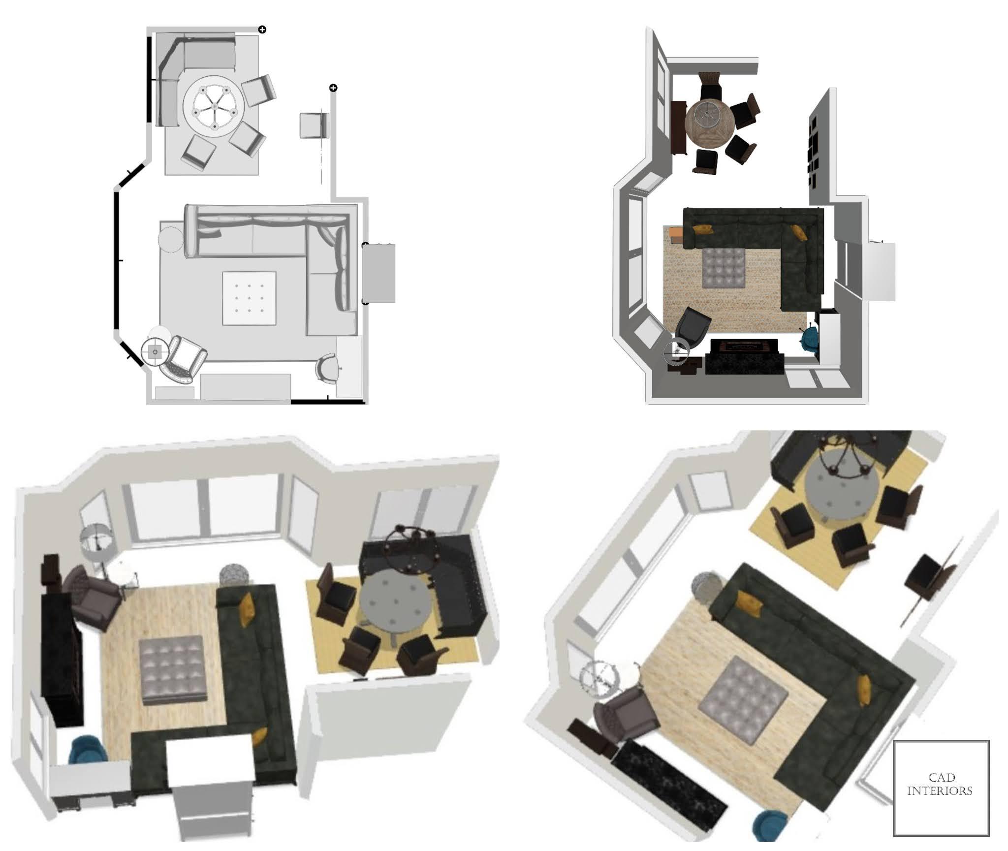 professional online virtual interior e-design floor plan layout