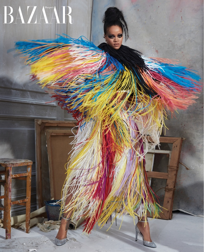 Rihanna wears Givenchy Haute Couture fringed jacket, dress and shoes
